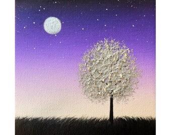 ORIGINAL Oil Painting, Purple Night, Starry Nightscape, Silver Tree Art, Miniature Painting, Palette Knife Painting, Textured Canvas Art 5x5