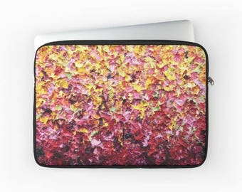 Laptop Bag, Padded Laptop Sleeve, Multicolored Computer Case, Laptop Carry Case, Yellow Pink Computer Bag, Colorful Fun Laptop Supplies