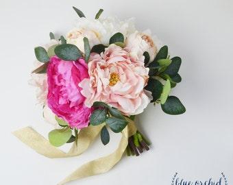 Wedding Bouquet, Bridal Bouquet, Peony Bouquet, Pink Peony Bouquet, Silk Bouquet, Silk Flowers, Wedding Flowers, Faux Bouquet, Beach Wedding