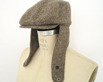 Pendleton Tweed Flat Cap with Ear Flap  / vintage gray wool driving cap or grey golf cap / men's small