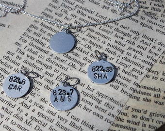 Custom Dewey Decimal System Author Metal Stamped Necklace - Literary Jewelry-  Librarian Gift