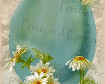 Easter Egg and DAISIES, Spring Vintage Postcard Illustration, Add Text or Photo, Instant DIGITAL Download, Printable