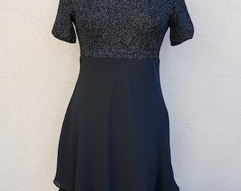 90s Black Dress, Black Party Dress, Short Black Dress, Short Sleeve Dress, 90s Clothing, Slinky Black Dress, Cocktail Dress,  90s Grunge