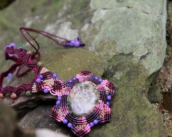 Macrame tribal boho mandala fairy necklace with unakite