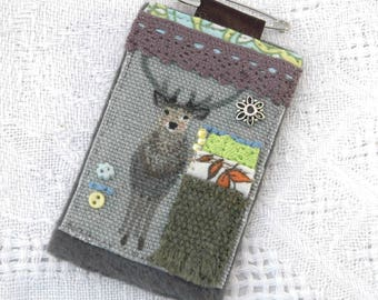 stag brooch, scottish stag, large deer brooch, country chic jewellery, Highland stag, hunters gifts, Scottish nature, hand stitched jewelry