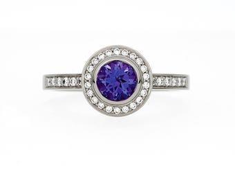 Tanzanite halo engagement ring, diamond ring, white gold, yellow gold, halo ring, tanzanite engagement, diamond engagement, purple wedding