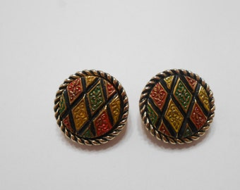 Vintage 1972 Mosaic (3371) Sarah Coventry Clip Earrings