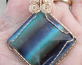 Blue Green, colored Magnesite Cabachon, pendent,
