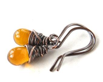 Amber teardrop earrings - honey glass drop - copper wire wrapped