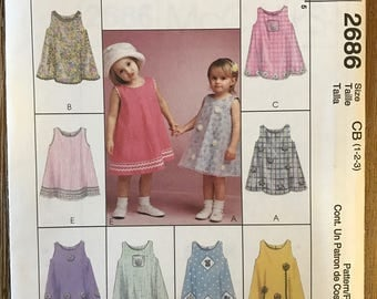 UNCUT Girl's, Toddler's Dress Sewing Pattern McCall's 2686 Size 1-2-3 Summer, Easy, Spring, Easter Dress, Play Clothes