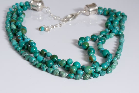 Green Turquoise Silk Necklace, Multi-strand Turquoise and Knotted Silk Necklace
