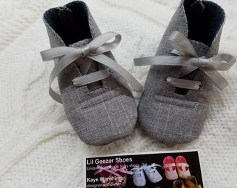 Grey Suiting Baby Boy Shoes