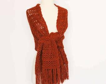 Pumpkin Orange Crochet Shawl Scarf Wrap Prayer Shawl, Wedding Shawl, Bridal Shawl, Accessories, Womens Gift, Womens Holiday Gift
