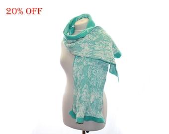 SALE 20 % OFF / Nuno Felt Shawl OOAK/ Nuno felted scarf/ Silk and Merino Wool Scarf / Green mint white / winter fashion accessory