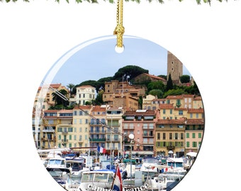 Cannes Christmas Ornament of France in Porcelain, Double Sided 2.75 Inches