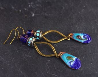 turquoise copper enamel earrings royal blue drop charm vortex wave beach handmade jewelry