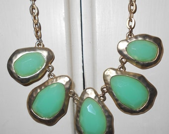 Vintage necklace 1990s sea green discs gold tone chain metal FREE USA SHIPPING