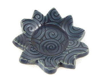 Storm Blue Sun with Swirl Pattern- Tea Trivet and Spoon - tea accessory - small dish - ring holder - incense holder