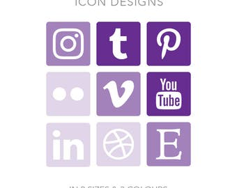 19 Rounded Square Social Media Buttons - Instant Download - Purple