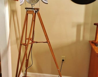 Tripod Spotlight, Vintage Look, Industrial Lamp,Upcycled, Steampunk Lamp.