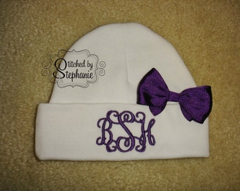 Custom personalized monogrammed 3 initial white newborn baby hat with purple bow