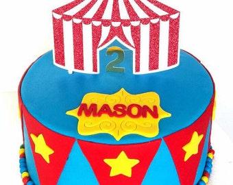 Glitter Circus Tent Cake topper