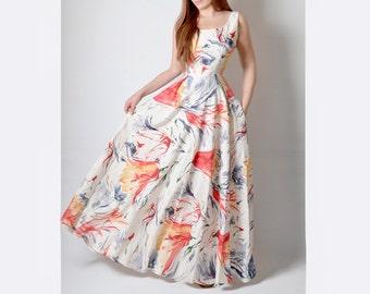 Linen Maxi Dress, Floral Dress, Linen Long Dress