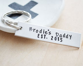 New Dad Gift - Daddy Established In 2017 Key Chain - Father's Day Gift - Custom Hand Stamped Dad Keychain - Personalized Key Ring