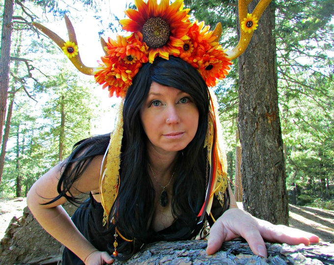 Deer Horn Headdress, Sunflower Headband, Lace Headdress, Horned Headband, Fall Headdress, Cosplay, Festival, Burning Man, Halloween, Horns