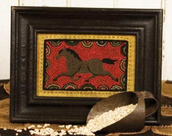 "Horse Punch Needle Pattern - Punchneedle Embroidery Pattern ""Prancing Pony"" #TTB 303"
