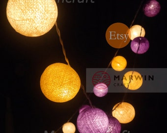 35 Cotton Balls Sugar Lavender Tone Fairy String Lights Party Patio Wedding Floor Table or Hanging Gift Home Decor Night Bedroom Event