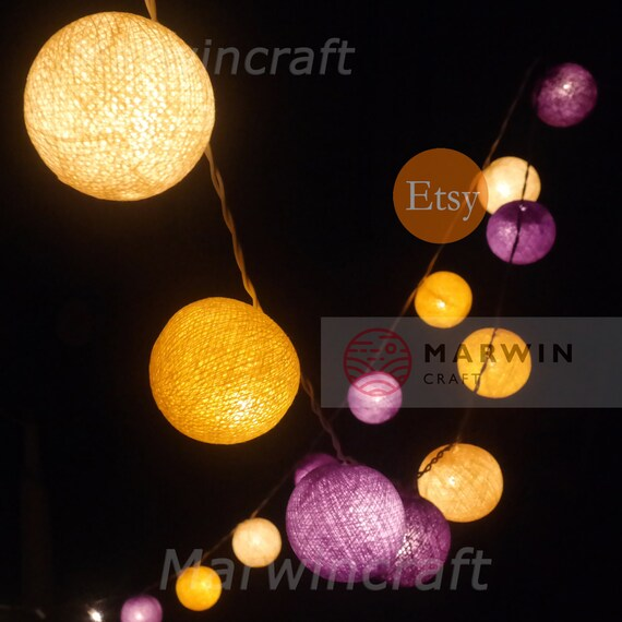 35 Cotton Balls Sugar Lavender Blue Tone Fairy String Lights Party Patio Wedding Floor Table or Hanging Gift Home Decor Night Bedroom