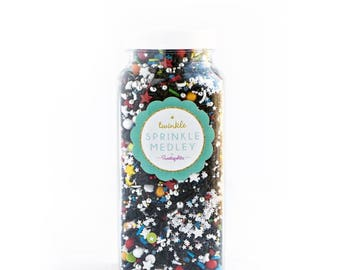 Sweetapolita Twinkle Sprinkles- We have Liftoff! 8oz. ( Net wt. 7oz.) Black, Silver, Stars