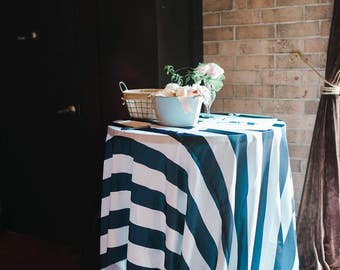 Satin Striped Navy Blue and White Table Linens