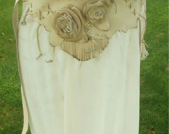 Leather lace Fringe  and Flower Corset Belt