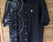 HINANO TAHITI Hawaiian Shirt, Hinano Tahiti Beer Tatoo Art Bahama Hawaiian Aloha Shirt Black and White Mens Size XL Size X-Large