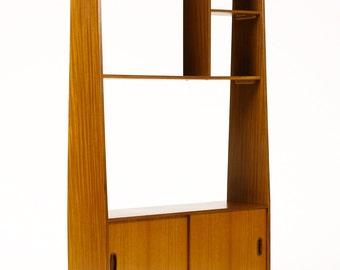 Danish Modern / Mid Century Slender Teak Upright Room Divider / Wall Unit — Tapered profile