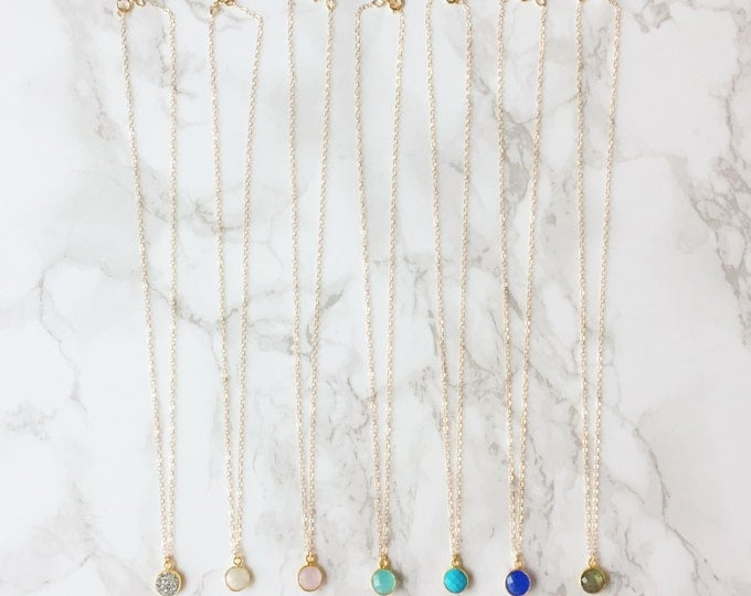 As Seen on The Bachelorette! Gemstone Drop Dainty Necklace (Choose a Color)