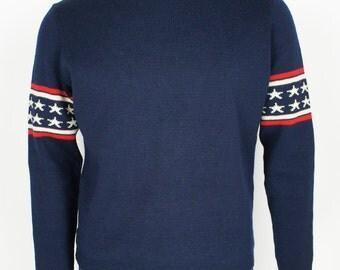 Vintage 1970's Demetre Pro Ski Sweater size Medium Stars and Stripes!!
