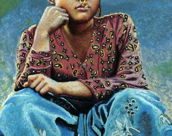 8x10 Fine Art Giclee Print, Nepali Girl, Archival Print of an Original Pastel Painting By Jan Maitland, Nepalese Girl,