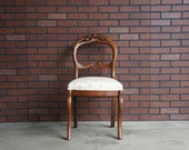 Chair / French Chair / Antique Carved Chair  Accent Chair / Desk Chair / Rose Backed Victorian Balloon Chair / Parlor Chair