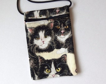 Pouch Zip Bag TUXEDO CAT Fabric.  Great for Walkers, markets, travel. Cell Phone Pouch. Small fabric purse. Black White cat bag. 6.75x4.5""