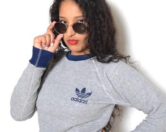 Vintage 80's ADIDAS Heather Grey Pullover SweatShirt Sz M