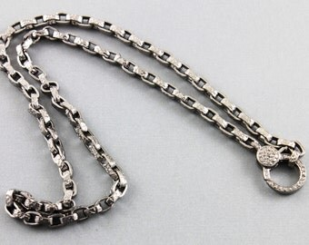Pave Diamond Chain, Diamond Link Chain, Pave Solid Sterling Silver, Handcrafted Silver Chain, Diamond Clasp, Oxidized Silver. (PAV/CHN/08)