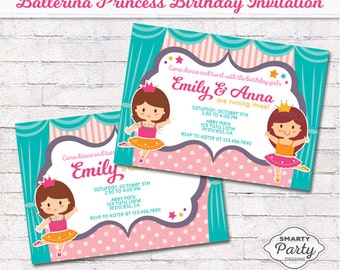 Ballerina Princess Girls Birthday Invitation Invite Printable  Personalized Sisters, Twins Customized 5x7 or 4x6