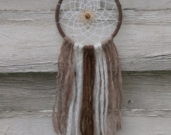 Boho Dreamcatcher brown white with yarn falls, wallhanging homedecor