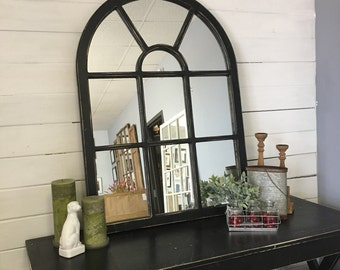 Arched Mirror, Wall Mirror, Window Mirror, Black Mirror, Large Mirror, Window Pane Mirror, Wall Mirror,Black Mirror