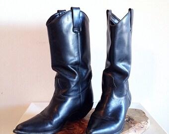 Vintage Thom McAn Plain Black Leather Cowboy Boots Ladies Size 7 1/2