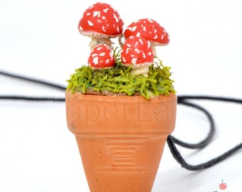 Mushroom Necklace in Terracotta Pot, Polymer Clay Jewelry, Terrarium Necklace, Miniature Mushrooms, Nature Jewelry