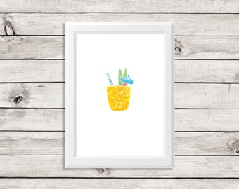 pineapple cocktail - pineapple cocktail drink - pineapple drink- pineapple tropical drink -cocktail print - bar cart print - signature drink